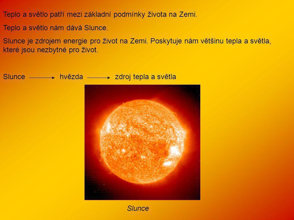 Teplo a světlo patří mezi základní podmínky života na Zemi. Teplo a světlo nám dává Slunce. Slunce je zdrojem energie pro život na Zemi. Poskytuje nám