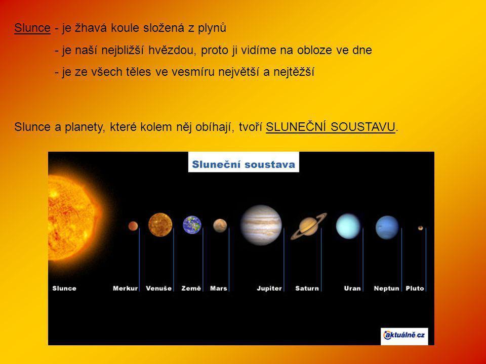 Slunce - je žhavá koule složená z plynů - je naší nejbližší hvězdou, proto ji vidíme na obloze ve dne - je ze všech těles ve vesmíru největší a nejtěžší Slunce a planety, které kolem něj obíhají, tvoří SLUNEČNÍ SOUSTAVU.