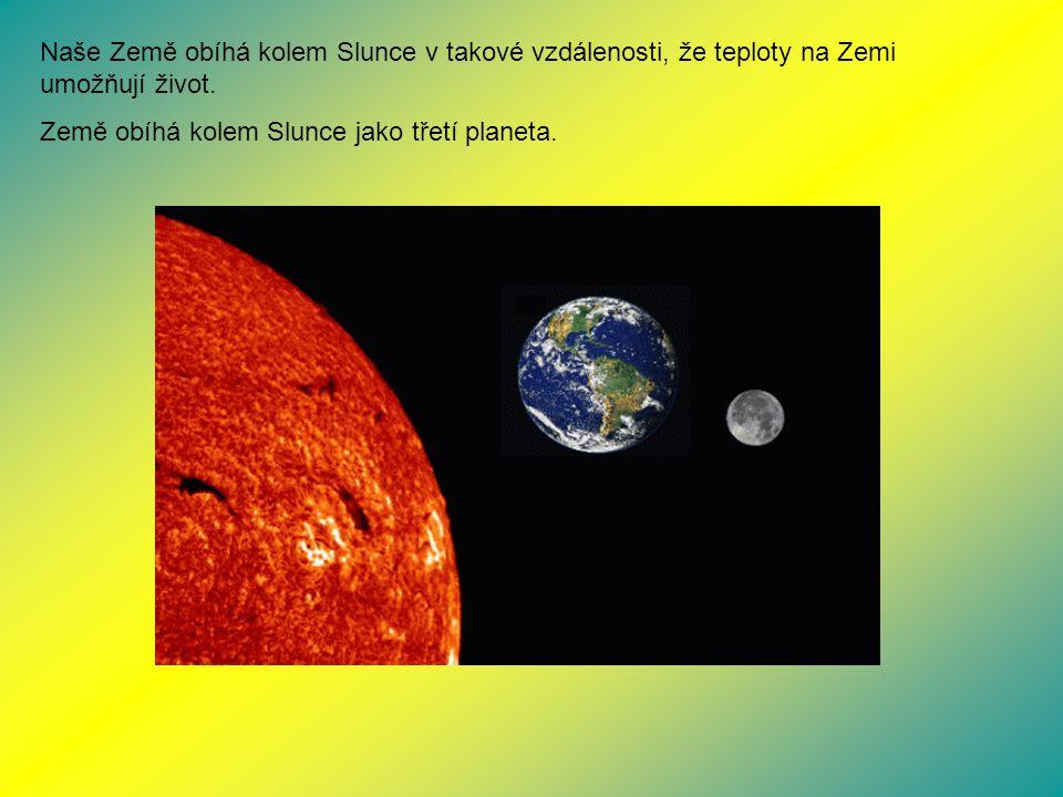 Naše Země obíhá kolem Slunce v takové vzdálenosti, že teploty na Zemi umožňují život. Země obíhá kolem Slunce jako třetí planeta.