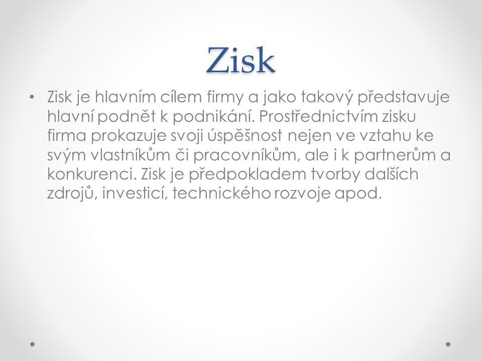 Zisk Zisk je hlavním cílem firmy a jako takový představuje hlavní podnět k podnikání.