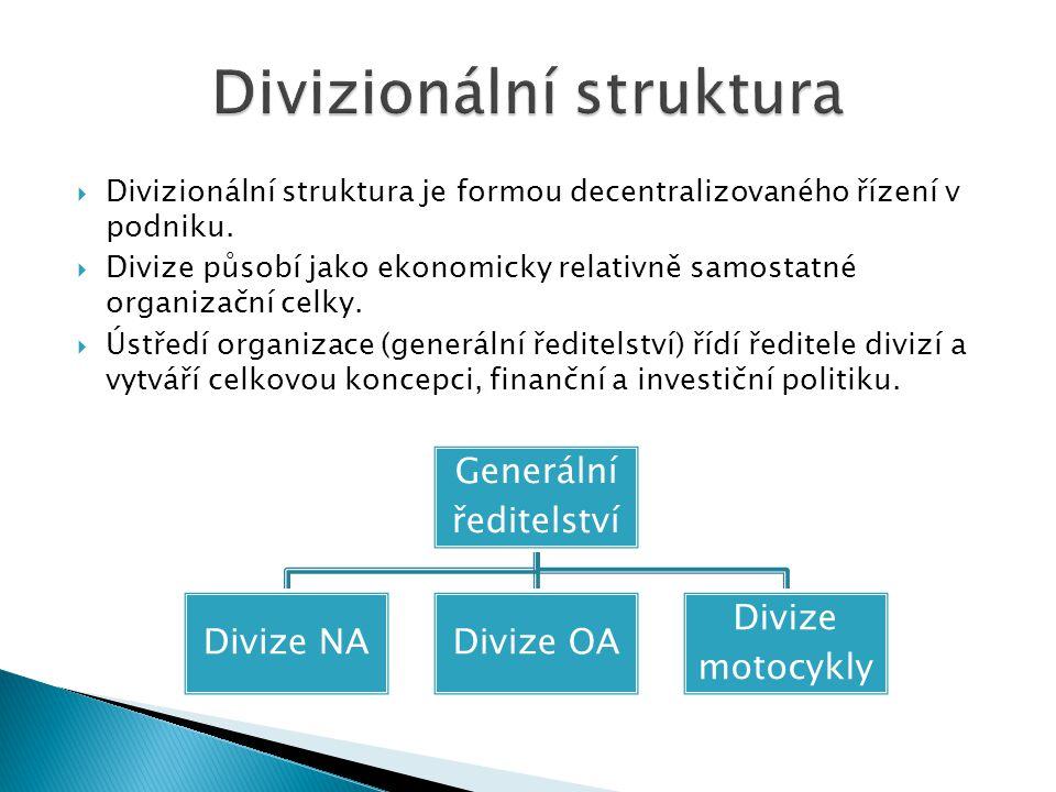  Divizionální struktura je formou decentralizovaného řízení v podniku.  Divize působí jako ekonomicky relativně samostatné organizační celky.  Ústř