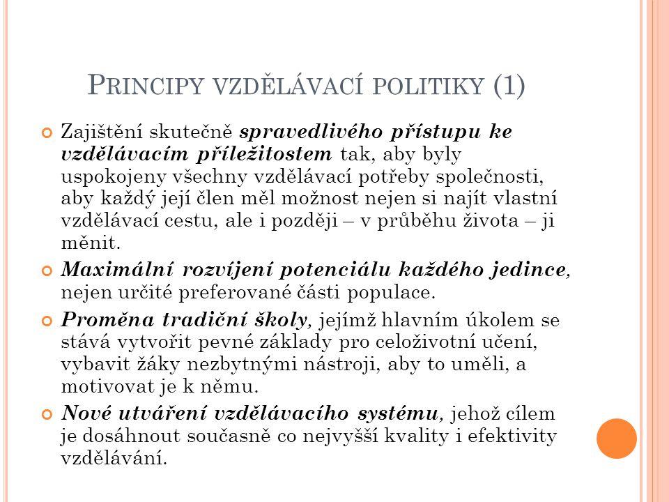 P RINCIPY VZDĚLÁVACÍ POLITIKY (2) Do rozhodování je zapojena nejen státní správa, ale i samospráva, představitelé obcí a regionů, sociálních partnerů a rodičů.