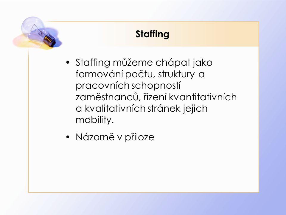 Staffing Staffing můžeme chápat jako formování počtu, struktury a pracovních schopností zaměstnanců, řízení kvantitativních a kvalitativních stránek j