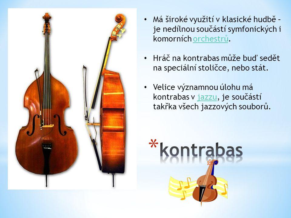 Má široké využití v klasické hudbě – je nedílnou součástí symfonických i komorních orchestrů.orchestrů Hráč na kontrabas může buď sedět na speciální stoličce, nebo stát.