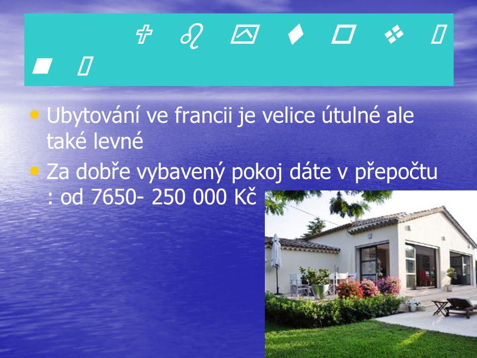 U b y t o v á n í Ubytování ve francii je velice útulné ale také levné Za dobře vybavený pokoj dáte v přepočtu : od 7650- 250 000 Kč