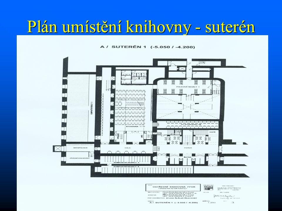 Plán umístění knihovny - suterén