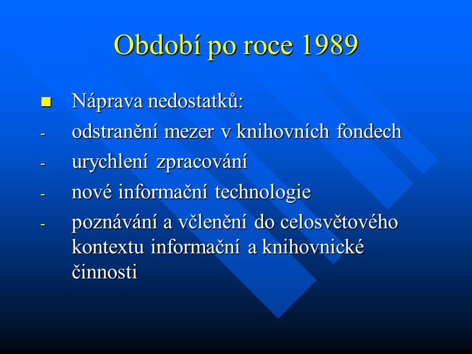 Období po roce 1989 Náprava nedostatků: Náprava nedostatků: - odstranění mezer v knihovních fondech - urychlení zpracování - nové informační technolog