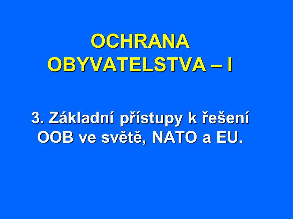 OCHRANA OBYVATELSTVA – I 3. Základní přístupy k řešení OOB ve světě, NATO a EU.