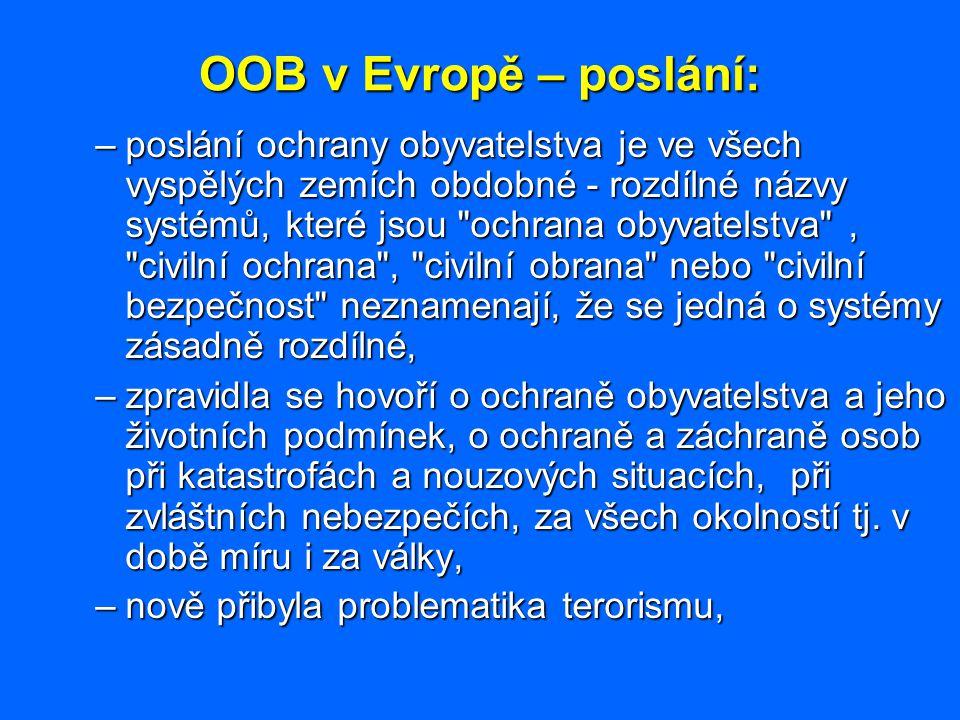 OOB v Evropě – poslání: –poslání ochrany obyvatelstva je ve všech vyspělých zemích obdobné - rozdílné názvy systémů, které jsou