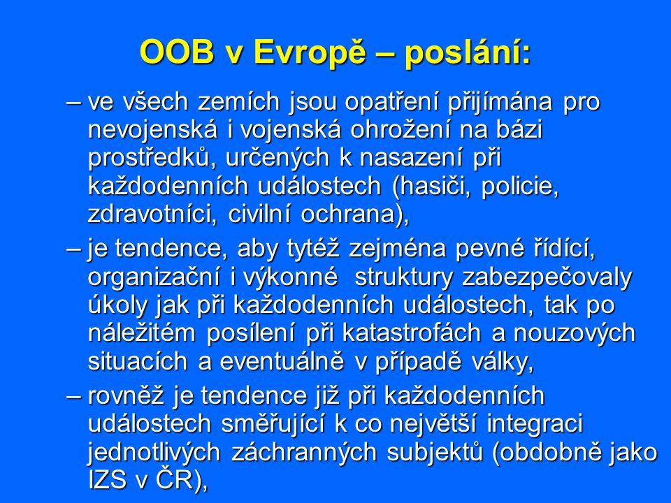 OOB v Evropě – poslání: –ve všech zemích jsou opatření přijímána pro nevojenská i vojenská ohrožení na bázi prostředků, určených k nasazení při každod