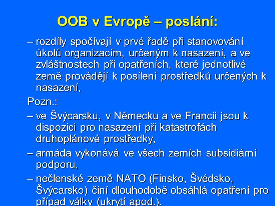 OOB v Evropě – poslání: –rozdíly spočívají v prvé řadě při stanovování úkolů organizacím, určeným k nasazení, a ve zvláštnostech při opatřeních, které