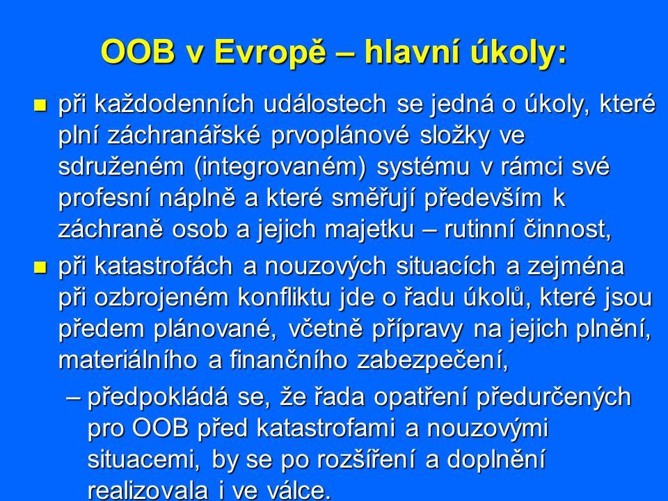 OOB v Evropě – hlavní úkoly: při každodenních událostech se jedná o úkoly, které plní záchranářské prvoplánové složky ve sdruženém (integrovaném) syst