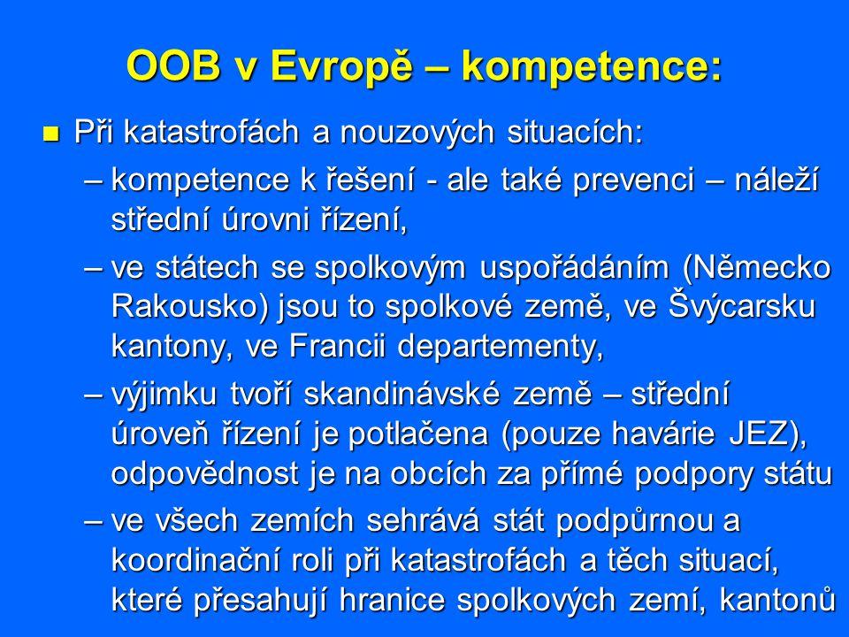 OOB v Evropě – kompetence: Při katastrofách a nouzových situacích: Při katastrofách a nouzových situacích: –kompetence k řešení - ale také prevenci –