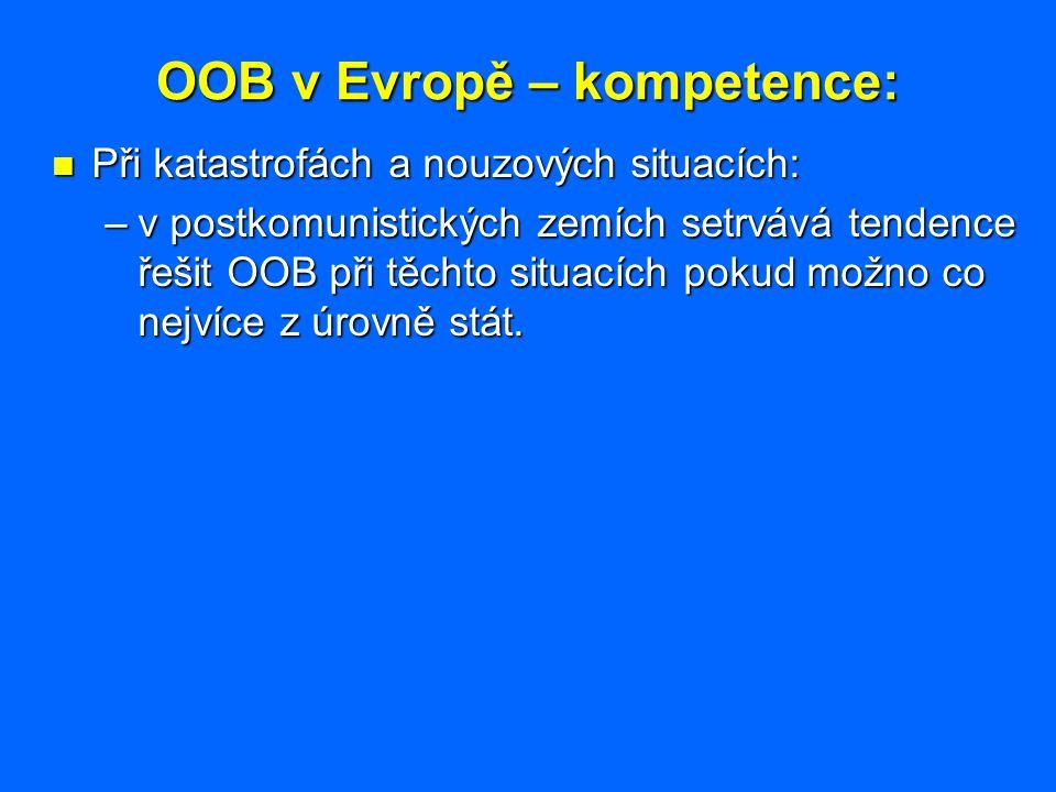 OOB v Evropě – kompetence: Při katastrofách a nouzových situacích: Při katastrofách a nouzových situacích: –v postkomunistických zemích setrvává tende