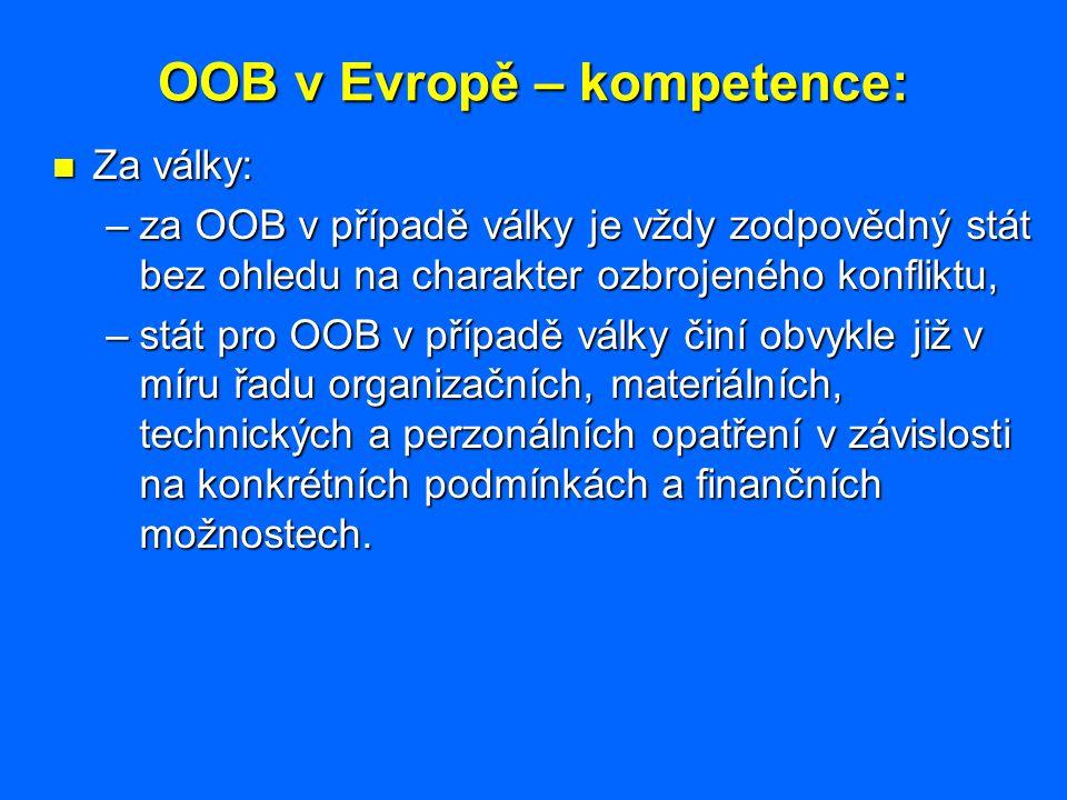 OOB v Evropě – kompetence: Za války: Za války: –za OOB v případě války je vždy zodpovědný stát bez ohledu na charakter ozbrojeného konfliktu, –stát pr
