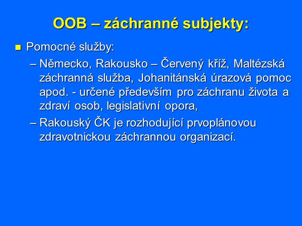 OOB – záchranné subjekty: Pomocné služby: Pomocné služby: –Německo, Rakousko – Červený kříž, Maltézská záchranná služba, Johanitánská úrazová pomoc ap