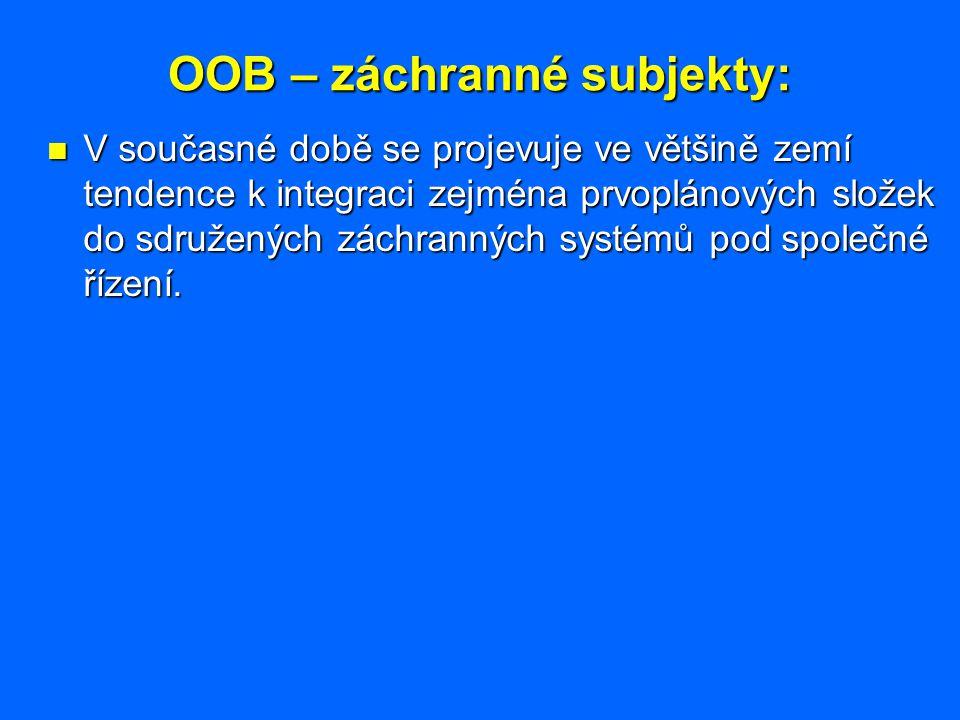 OOB – záchranné subjekty: V současné době se projevuje ve většině zemí tendence k integraci zejména prvoplánových složek do sdružených záchranných sys