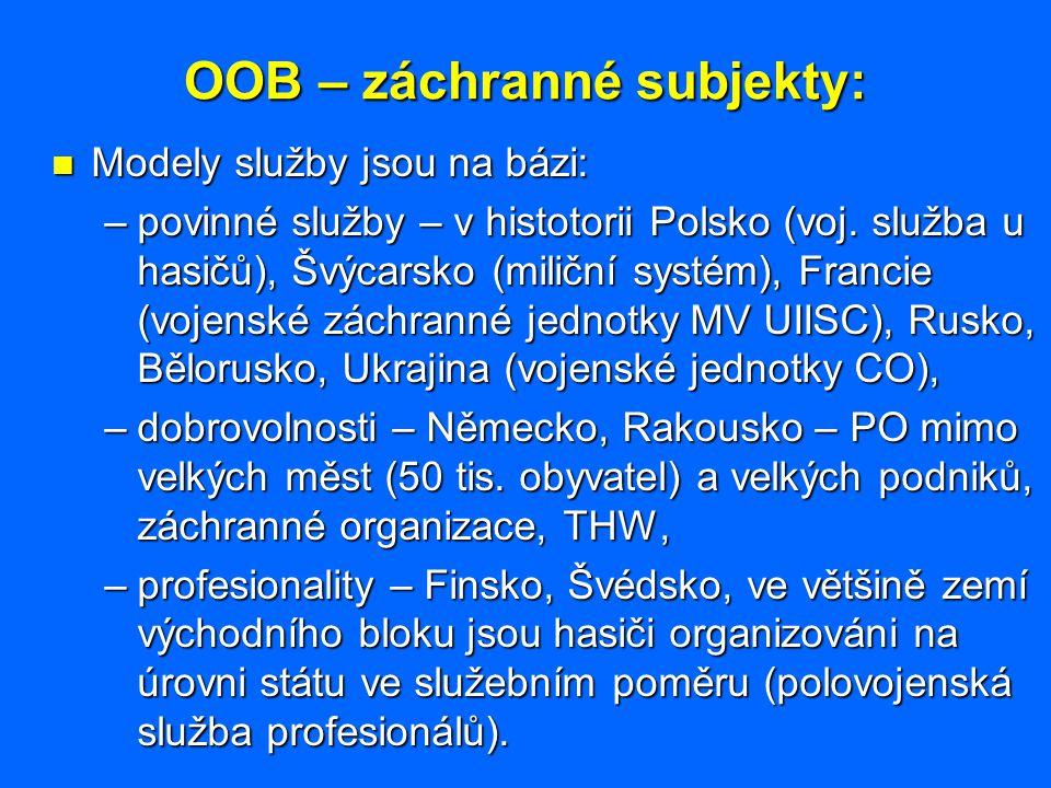 OOB – záchranné subjekty: Modely služby jsou na bázi: Modely služby jsou na bázi: –povinné služby – v histotorii Polsko (voj. služba u hasičů), Švýcar