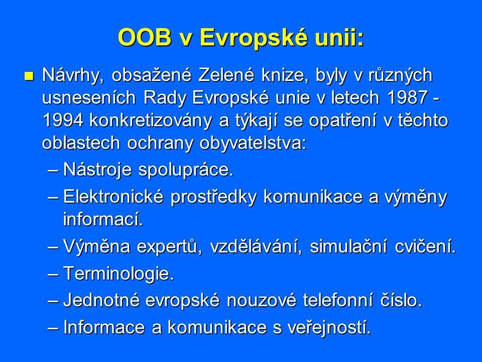 OOB v Evropské unii: Návrhy, obsažené Zelené knize, byly v různých usneseních Rady Evropské unie v letech 1987 - 1994 konkretizovány a týkají se opatř