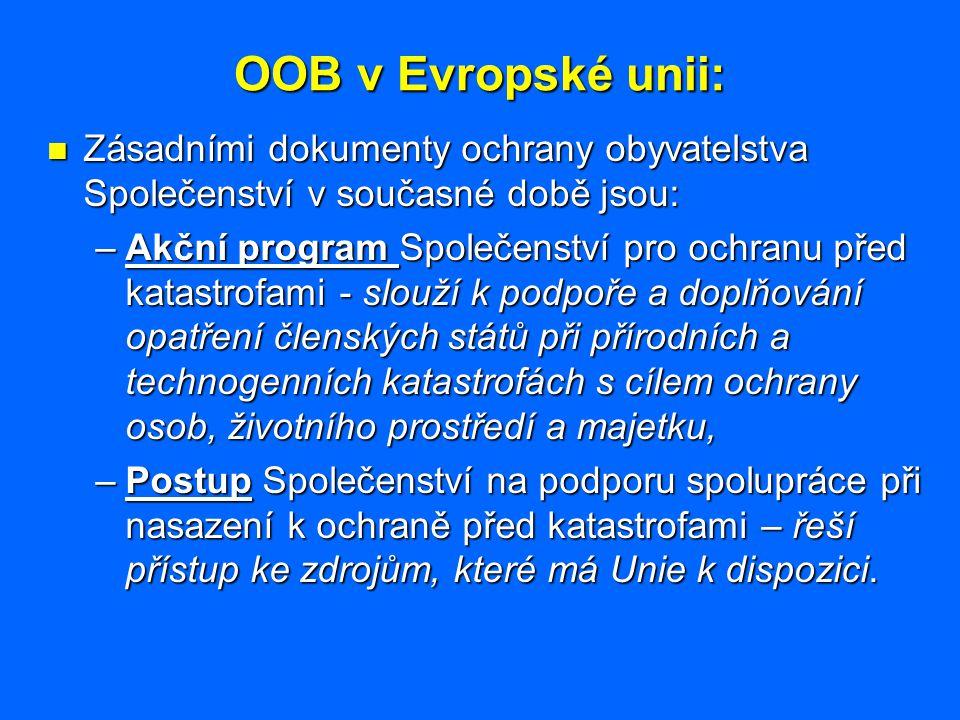 OOB v Evropské unii: Zásadními dokumenty ochrany obyvatelstva Společenství v současné době jsou: Zásadními dokumenty ochrany obyvatelstva Společenství