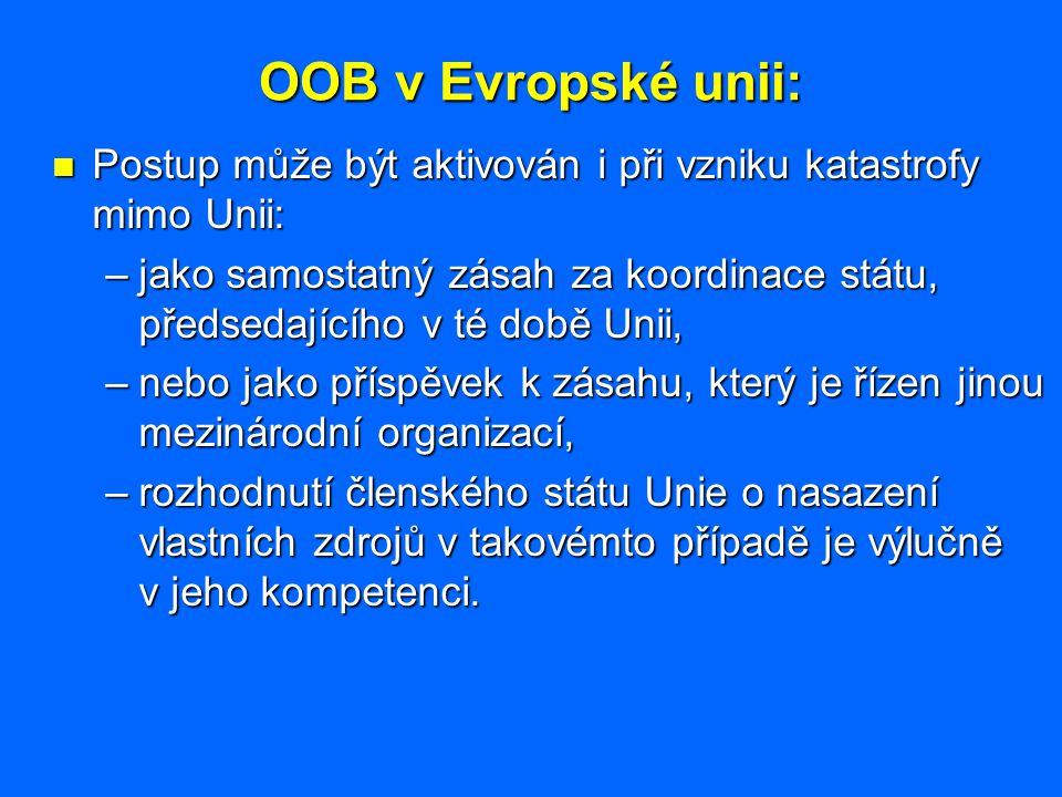 OOB v Evropské unii: Postup může být aktivován i při vzniku katastrofy mimo Unii: Postup může být aktivován i při vzniku katastrofy mimo Unii: –jako s