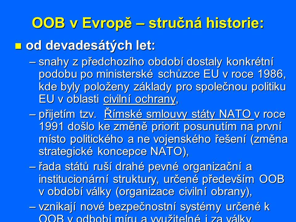OOB v Evropě – stručná historie: od devadesátých let: od devadesátých let: –snahy z předchozího období dostaly konkrétní podobu po ministerské schůzce