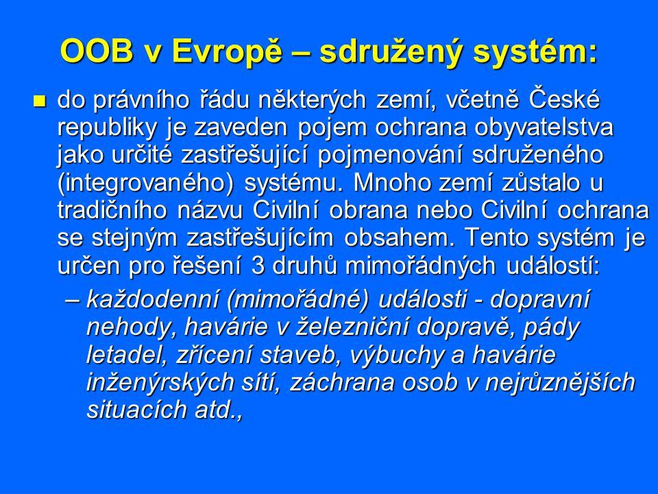 OOB v Evropě – hlavní úkoly: Specifika: Specifika: –některé země (Francie) zahrnují do oblasti OOB úkoly spojení s ochranou ŽP zejména v souvislosti s jeho narušováním při rozsáhlých katastrofách a nouzových situacích, –mezi úkoly OOB v Evropě naopak nepatří IPCHO osob, tzn.