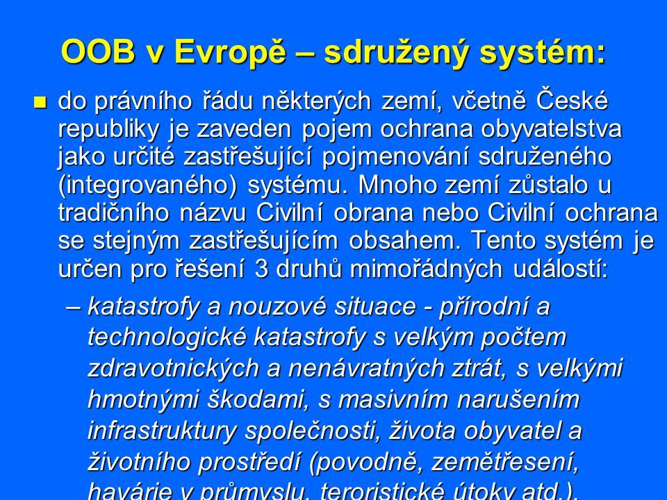 OOB v Evropě – kompetence: Kompetence v jednotlivých oblastech činnosti v rámci ochrany obyvatelstva jsou odvislé od správního členění daného státu, které lze obecně rozdělit na následující úrovně: Kompetence v jednotlivých oblastech činnosti v rámci ochrany obyvatelstva jsou odvislé od správního členění daného státu, které lze obecně rozdělit na následující úrovně: –centrální (stát, spolkový stát, federativní stát), –zemská (spolková země, kanton), –vyšší střední (kraj, provincie), –nižší střední (okres, departement), –obecní (obec,město).