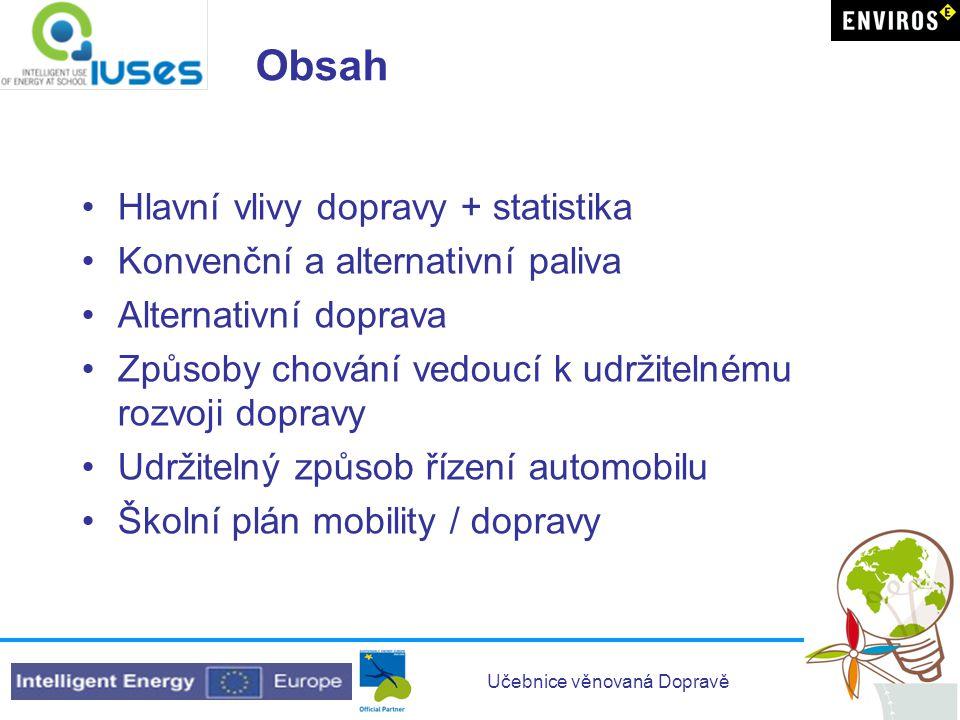 Učebnice věnovaná Dopravě Obsah Hlavní vlivy dopravy + statistika Konvenční a alternativní paliva Alternativní doprava Způsoby chování vedoucí k udržitelnému rozvoji dopravy Udržitelný způsob řízení automobilu Školní plán mobility / dopravy