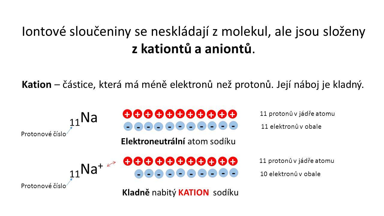 Iontové sloučeniny se neskládají z molekul, ale jsou složeny z kationtů a aniontů. Kation – částice, která má méně elektronů než protonů. Její náboj j