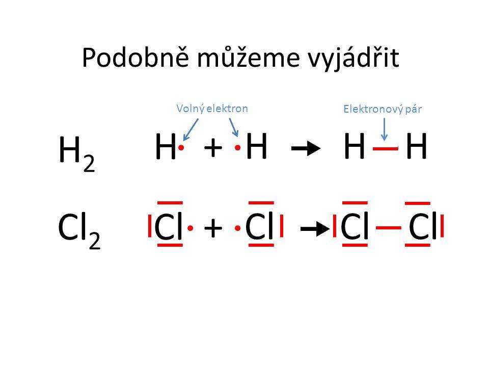H Cl Podobně můžeme vyjádřit H H+  H2H2 Cl +  Cl 2 Volný elektron Elektronový pár