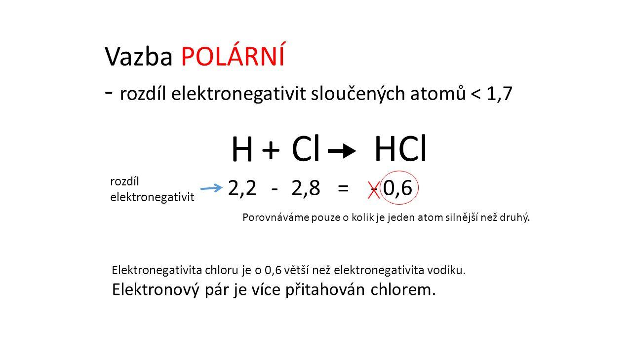 HClCl H+  rozdíl elektronegativit 2,22,8 - =- 0,6 Elektronegativita chloru je o 0,6 větší než elektronegativita vodíku.