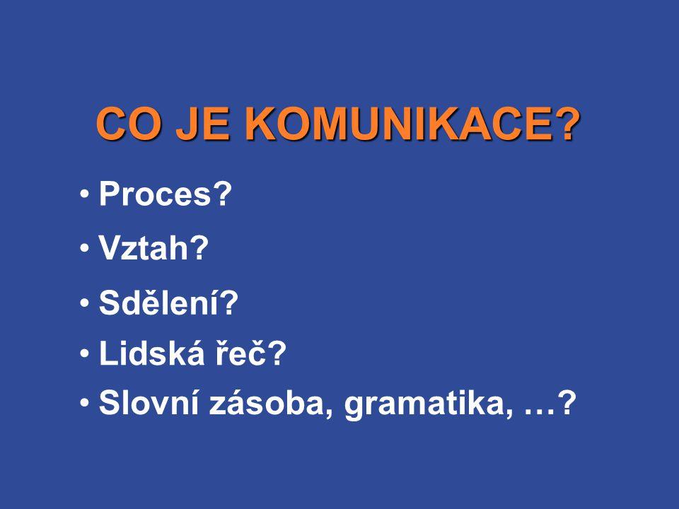 Proces? CO JE KOMUNIKACE? Vztah? Sdělení? Lidská řeč? Slovní zásoba, gramatika, …?