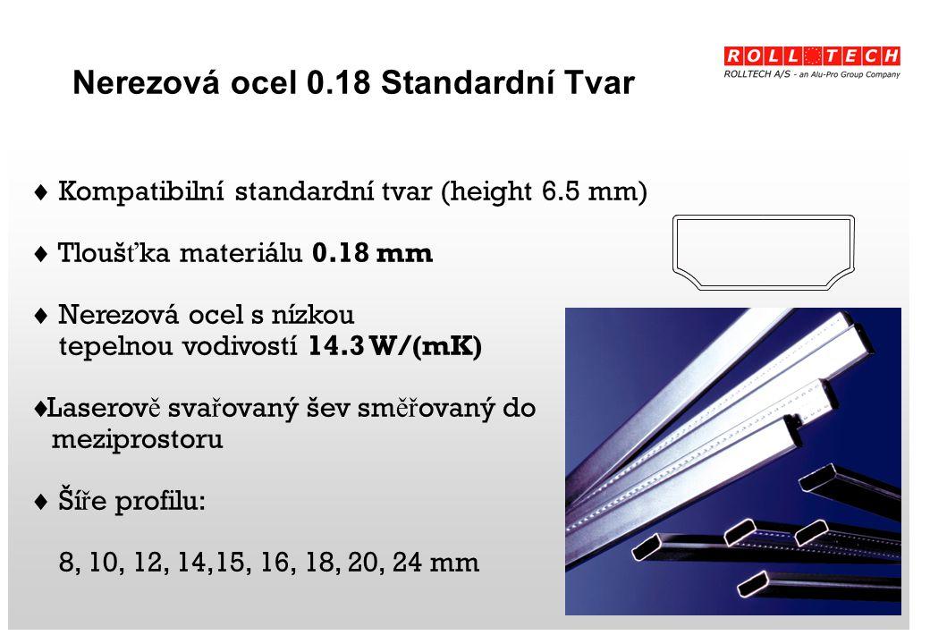 Nerezová ocel 0.18 Standardní Tvar  Kompatibilní standardní tvar (height 6.5 mm)  Tlouš ť ka materiálu 0.18 mm  Nerezová ocel s nízkou tepelnou vodivostí 14.3 W/(mK)  Laserov ě sva ř ovaný šev sm ěř ovaný do meziprostoru  Ší ř e profilu: 8, 10, 12, 14,15, 16, 18, 20, 24 mm