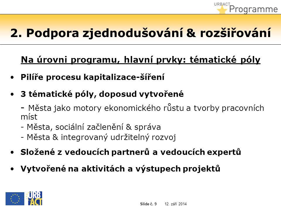 12. září 2014 Slide č. 9 2. Podpora zjednodušování & rozšiřování Na úrovni programu, hlavní prvky: tématické póly Pilíře procesu kapitalizace-šíření 3