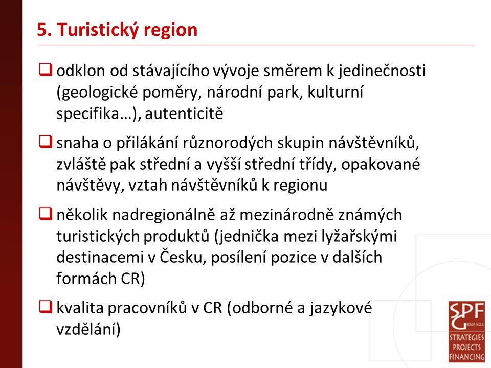 5. Turistický region  odklon od stávajícího vývoje směrem k jedinečnosti (geologické poměry, národní park, kulturní specifika…), autenticitě  snaha