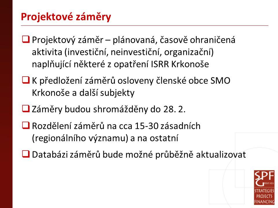 Projektové záměry  Projektový záměr – plánovaná, časově ohraničená aktivita (investiční, neinvestiční, organizační) naplňující některé z opatření ISRR Krkonoše  K předložení záměrů osloveny členské obce SMO Krkonoše a další subjekty  Záměry budou shromážděny do 28.