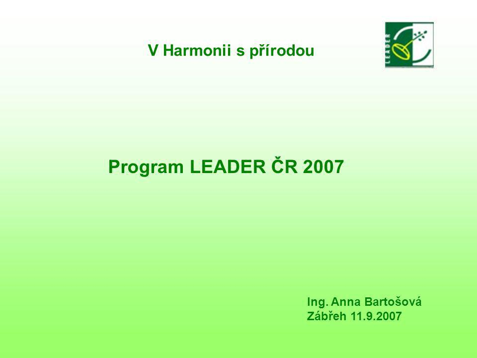 V Harmonii s přírodou Program LEADER ČR 2007 Ing. Anna Bartošová Zábřeh 11.9.2007