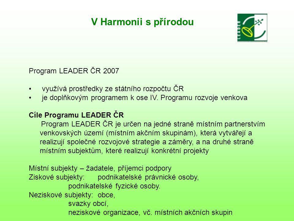 V Harmonii s přírodou Program LEADER ČR 2007 využívá prostředky ze státního rozpočtu ČR je doplňkovým programem k ose IV.