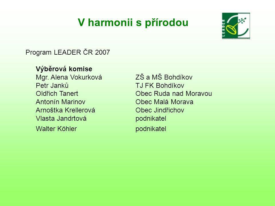 V harmonii s přírodou Program LEADER ČR 2007 Výběrová komise Mgr.