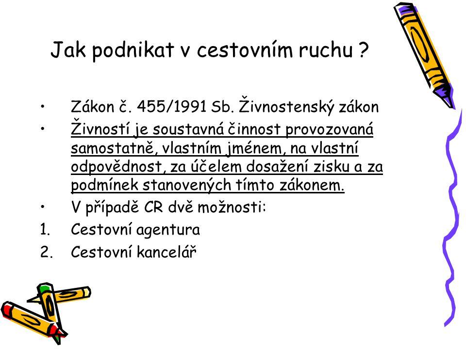 Jak podnikat v cestovním ruchu .Zákon č. 455/1991 Sb.