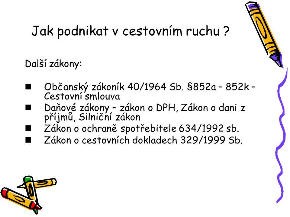 Jak podnikat v cestovním ruchu .Další zákony: Občanský zákoník 40/1964 Sb.