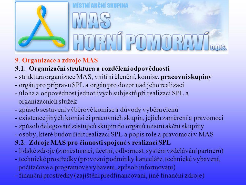 9. Organizace a zdroje MAS 9.1.