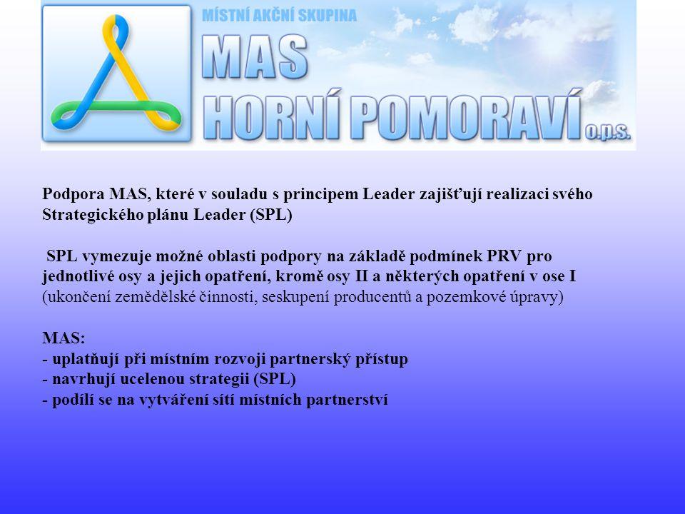 Podpora MAS, které v souladu s principem Leader zajišťují realizaci svého Strategického plánu Leader (SPL) SPL vymezuje možné oblasti podpory na zákla