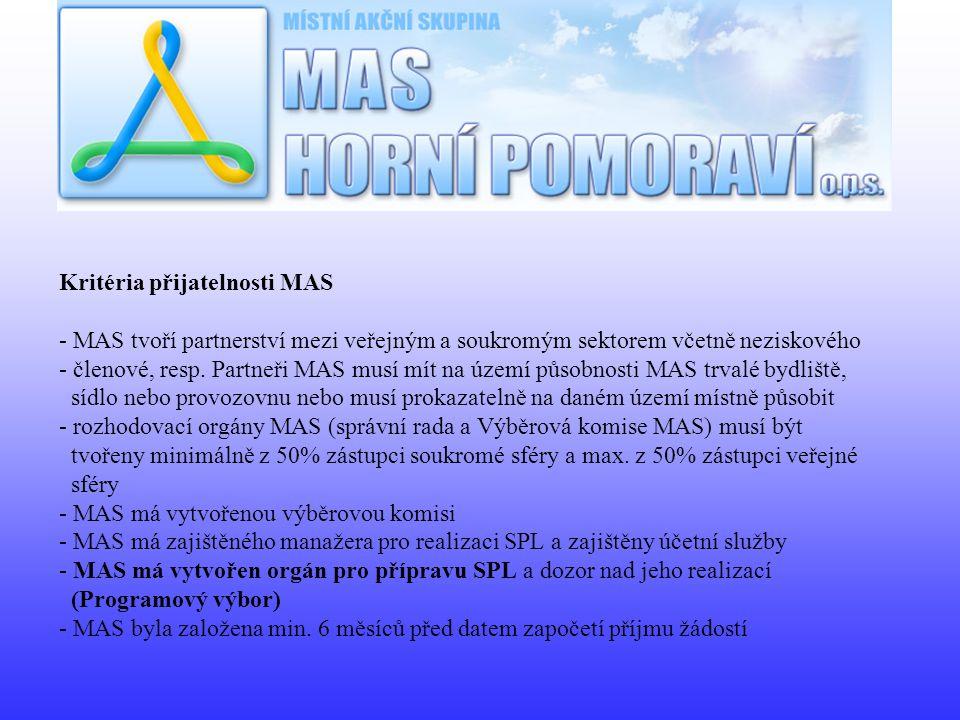 Kritéria přijatelnosti MAS - MAS tvoří partnerství mezi veřejným a soukromým sektorem včetně neziskového - členové, resp. Partneři MAS musí mít na úze