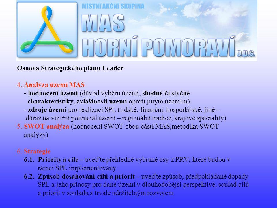 Osnova Strategického plánu Leader 4. Analýza území MAS - hodnocení území (důvod výběru území, shodné či styčné charakteristiky, zvláštnosti území opro