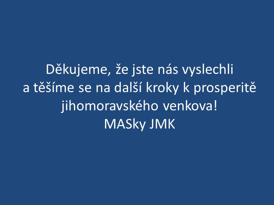 Děkujeme, že jste nás vyslechli a těšíme se na další kroky k prosperitě jihomoravského venkova! MASky JMK