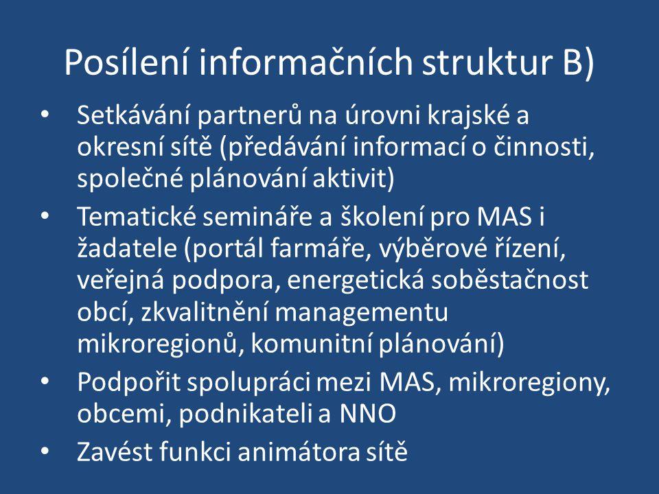 Posílení informačních struktur B) Setkávání partnerů na úrovni krajské a okresní sítě (předávání informací o činnosti, společné plánování aktivit) Tem