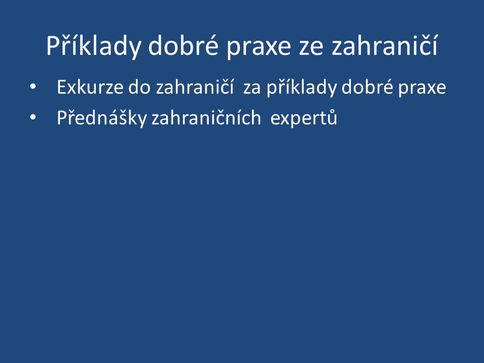 Příklady dobré praxe ze zahraničí Exkurze do zahraničí za příklady dobré praxe Přednášky zahraničních expertů