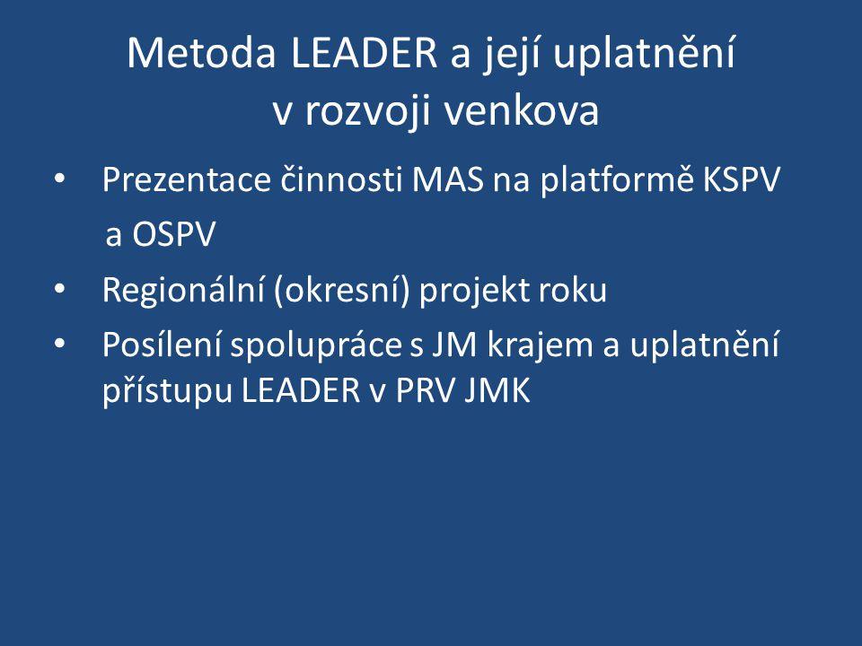 Metoda LEADER a její uplatnění v rozvoji venkova Prezentace činnosti MAS na platformě KSPV a OSPV Regionální (okresní) projekt roku Posílení spoluprác